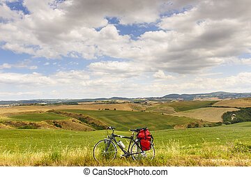 landscape, in, val, d'orcia, (tuscany), met, fiets