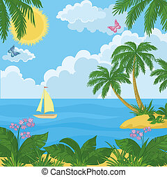Landscape: island with palm trees and ship