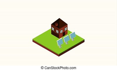 landscape isometric concept - house cows in the corral and...