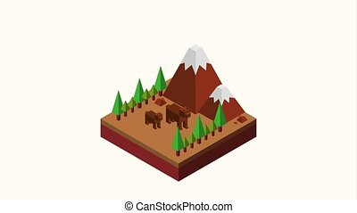 wild bears in the mountains landscape isometric animation hd