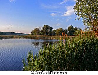 landscape lake - Beautiful lake view sunrise summer ...
