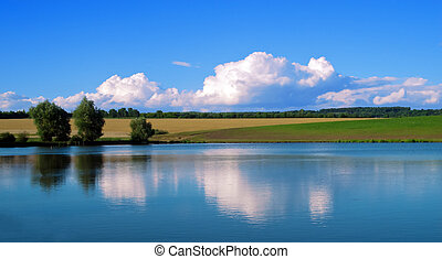 Landscape lake blue sky and reflections of clouds in water