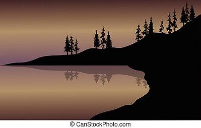Landscape lake of silhouette
