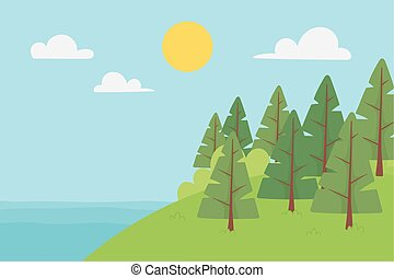 landscape lake trees in hill sunny day sky clouds
