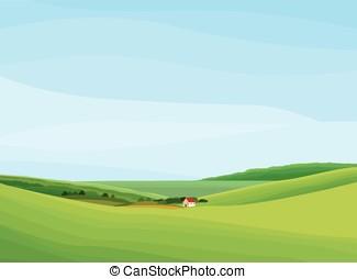 landscape lawn flowers - Summer landscape background. Vector