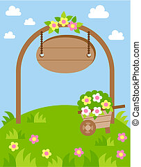 landscape lawn flowers - summer landscape with arch and a...