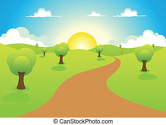 landscape, lente, spotprent, zomer, of