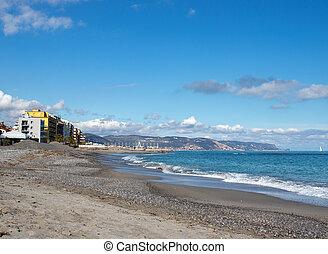 Landscape Ligurian sea with blue sky