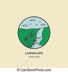Landscape line illustartion with waterfall, mountain, sky.