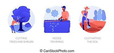 Landscape maintenance abstract concept vector illustration set. Cutting trees and shrubs, hedge trimming, cultivating soil, pruning dead wood, hedge clipper, tilling ground abstract metaphor.