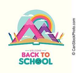 landscape, meetkunde, school, back, meetlatje, concept