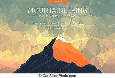landscape, met, de piek van de berg