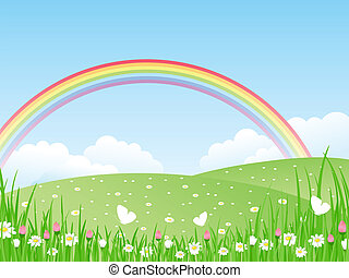landscape, met, een, rainbow., vector, il