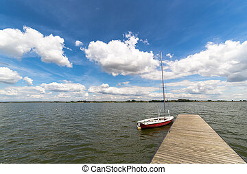 landscape, met, meer, in, summer., blauwe hemel