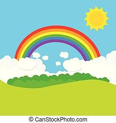 landscape, met, regenboog, en, sun., vector, illustratie