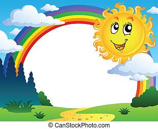 landscape, met, regenboog, en, zon 2