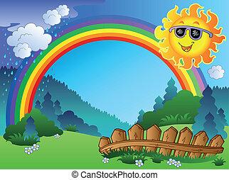 landscape, met, regenboog, en, zon