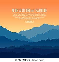 landscape, met, schemering, in, blauwe bergen