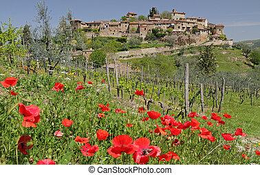 landscape, met, schilderachtig, tuscan, dorp