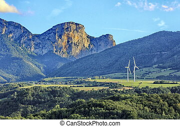 landscape mountain and wind turbine
