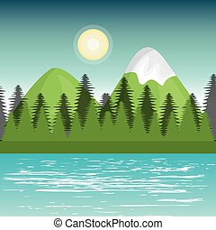 landscape mountain green river design