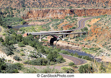 Landscape Mountain View of Pinto Creek Bridge Tonto Basin off Interstate Arizona Route 60