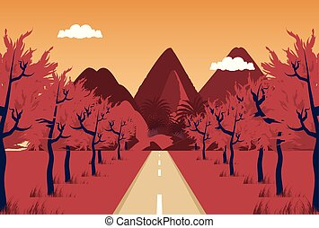 landscape mountain with road and sky red