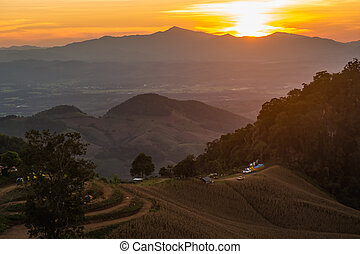 landscape Mountain with sunset in Nan Thailand