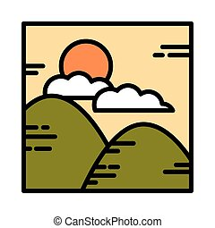 landscape mountains nature clouds sun cartoon line and fill style