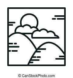 landscape mountains nature clouds sun cartoon line icon style