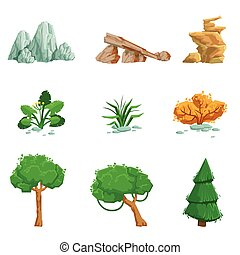 Landscape Natural Elements Set Of Detailed Icons. Isolated...