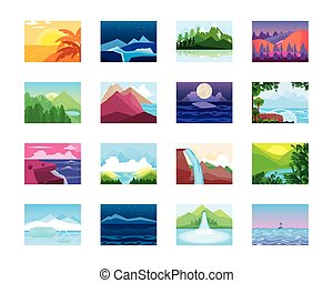landscape nature icons of mountains, ocean, river, tropical and forest