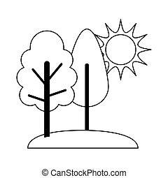 landscape nature trees grass and sun cartoon line icon style