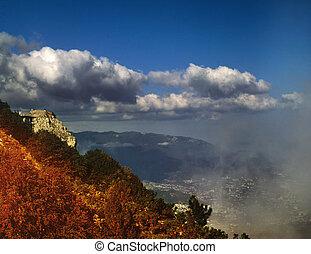 landscape, natuurlijke , rokerig, bron, afgetaste, bergen.,...