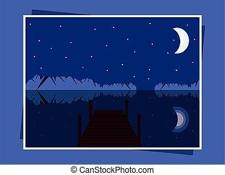 landscape night lake