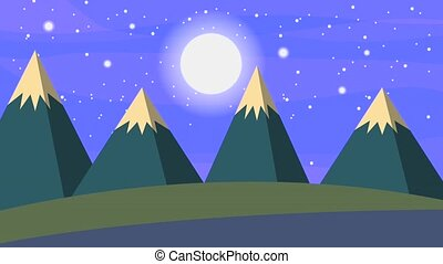 landscape night starry moon sky and snow mountains animation