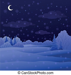 Landscape, night winter forest - Vector, winter christmas...