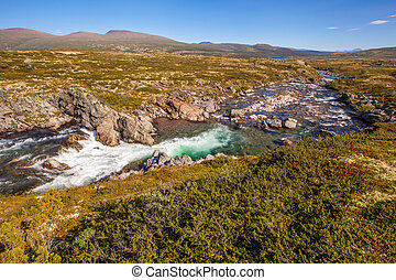 landscape Norway mountains Dovrefjell river