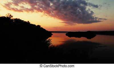 Landscape of a beautiful sunset over river