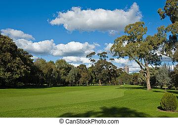 landscape of a green golf field