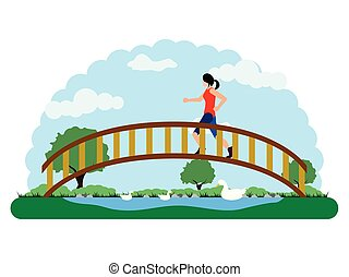 Landscape of a park with a girl running