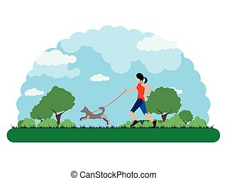 Landscape of a park with a girl running with her dog