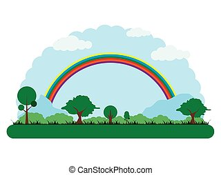 Landscape of a park with a rainbow