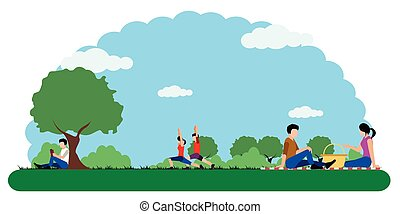 Landscape of a park with people relaxing