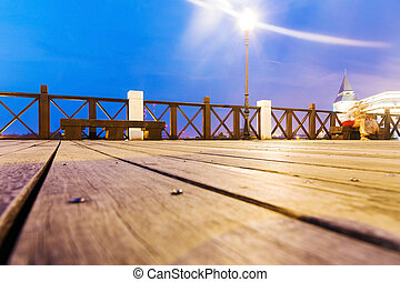 Landscape of a pier at night