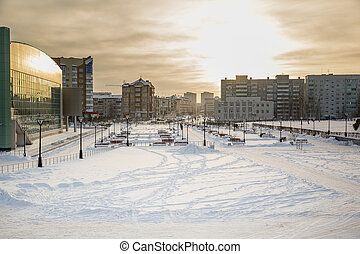 Landscape of a small town in winter
