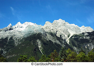 Landscape of a snow mountain in Yun Nan China