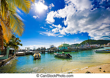 Landscape of a sunny pier