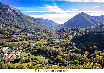 Abruzzo national park - landscape of a sunny valley and ...