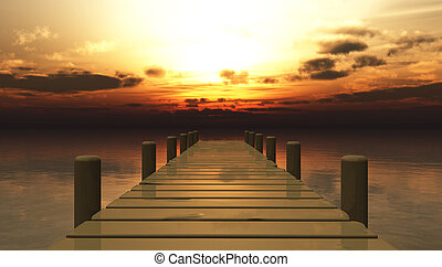 Landscape of a sunset on a wooden pier